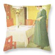School Household, Dining Room Scene Throw Pillow