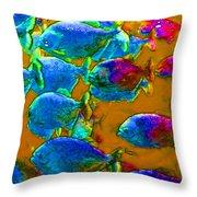 School Of Piranha V1 Throw Pillow