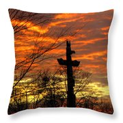 School Totem Pole Sunrise Throw Pillow