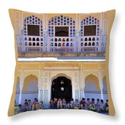 Schoolchildren At The Women's Palace - Jaipur India Throw Pillow