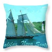 Schooner And Lighthouse Throw Pillow