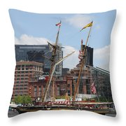 Schooner Arriving At Baltimore Inner Harbor Throw Pillow