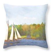 Schooner Castine Harbor Maine Throw Pillow