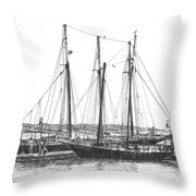 Schooners On The York River Throw Pillow