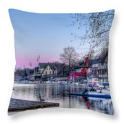 Schuylkill River And Boathouse Row Philadelphia Throw Pillow by Bill Cannon