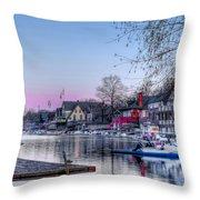 Schuylkill River And Boathouse Row Philadelphia Throw Pillow