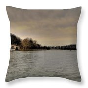 Schuylkill River On A Cloudy Day Throw Pillow by Bill Cannon