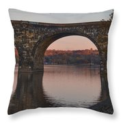 Schuylkill River Railroad Bridge In Autumn Throw Pillow