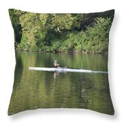 Schuylkill Rower Throw Pillow by Bill Cannon