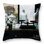 Science - Balance And Bottles In Chem Lab Throw Pillow