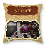 Science Button Throw Pillow by Mike Savad