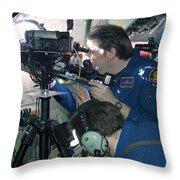Scientists Onboard Stratotanker Throw Pillow