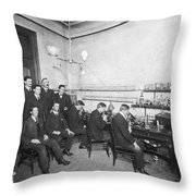 Scientists With Microscopes Throw Pillow