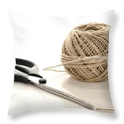 Scissors And Twine Throw Pillow