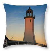 Scituate Lighthouse In Oct Throw Pillow
