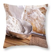 Scoop Of Flour And Fresh Bread Throw Pillow