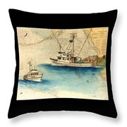 Scooter Fishing Boat Nautical Chart Map Art Throw Pillow