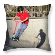Scooter Flying Throw Pillow
