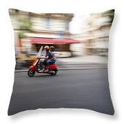 Scooter In Paris Throw Pillow