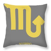 Scorpio Zodiac Sign Yellow On Grey Throw Pillow