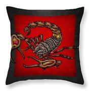 Scorpion On Red And Black Leather Throw Pillow