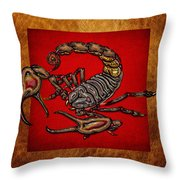 Scorpion On Red And Brown Leather Throw Pillow