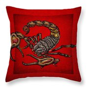 Scorpion On Red Throw Pillow