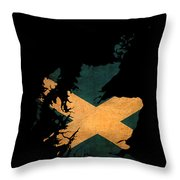 Scotland Grunge Map Outline With Flag Throw Pillow