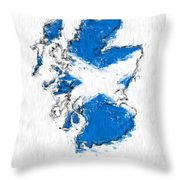 Scotland Painted Flag Map Throw Pillow