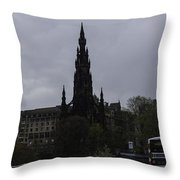 Scott Monument Next To Waverley Train Station And With Sightseeing Buses Throw Pillow