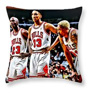 Scottie Pippen With Michael Jordan And Dennis Rodman Throw Pillow by Florian Rodarte