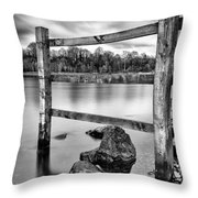 Scottish Loch With Fence Throw Pillow