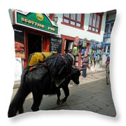 Scottish Pub In Lukla Throw Pillow