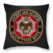 Scottish Rite Double-headed Eagle On Black Leather Throw Pillow