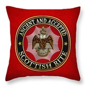 Scottish Rite Double-headed Eagle On Red Leather Throw Pillow