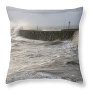 Scottish Sea Storm Throw Pillow