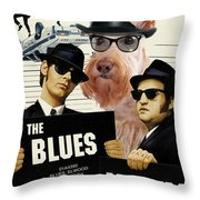 Scottish Terrier Art Canvas Print - The Blues Brothers Movie Poster Throw Pillow by Sandra Sij