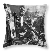 Scouts Camp In Window Throw Pillow
