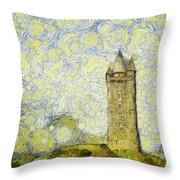 Starry Scrabo Tower Throw Pillow