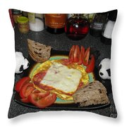 Scrambled Eggs Salami And Cheese For Breakfast. Travelling Baby Pandas Series. Throw Pillow