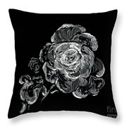 Scratched Rose Throw Pillow