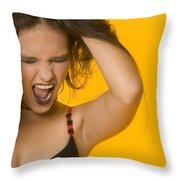 Screaming Girl Throw Pillow
