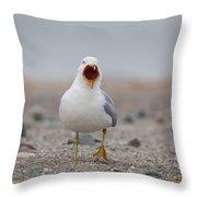 Screaming Seagull Throw Pillow
