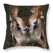 Screech Owl Portrait Throw Pillow