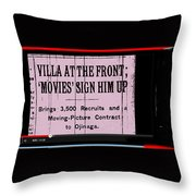 Screen Capture  Newspaper Article  Mutual Film Corporation's  The Life Of General Villa 1914-2013 Throw Pillow