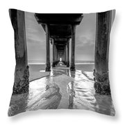 Scripps Pier Black And White Throw Pillow
