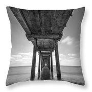 Scripps Pier La Jolla Long Exposure Bw Throw Pillow