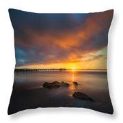 Scripps Pier Sunset 2 - Square Throw Pillow