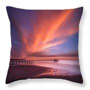 Scripps Pier Sunset - Square Throw Pillow