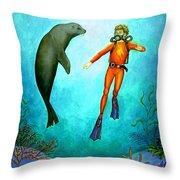 Scuba Diver One Throw Pillow